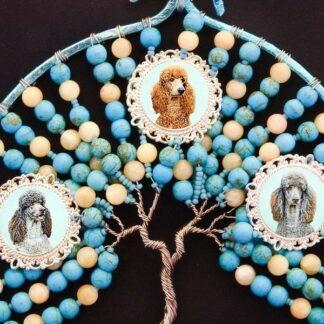 Memory Tree of Life Wall Art or Suncatcher, Turquoise & Cream, 1 to 4 Portraits