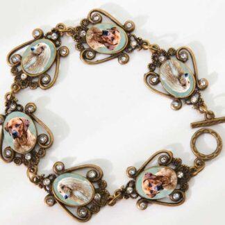 Photo Keepsake Bronze Victorian Scroll Work Bracelet