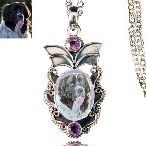 Angel Wings Sterling Silver Photo Keepsake Necklace, Amethyst