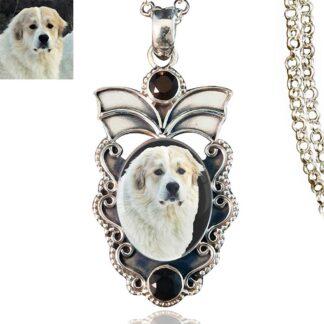 Angel Wings Sterling Silver Photo Keepsake Necklace, Black Onyx