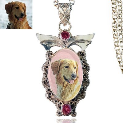 Angel Wings Sterling Silver Photo Keepsake Necklace, Pink Kunzite #8