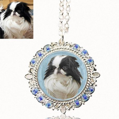 Photo Keepsake Beaded Pendant with Sterling Silver Necklace
