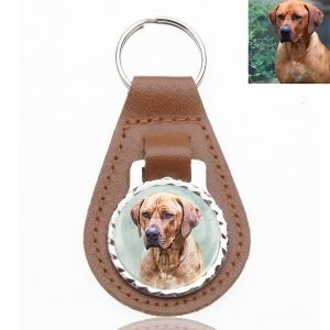 Photo Keepsake Brown Leather Key Chain