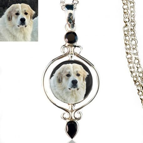 Full Circle Sterling Silver Photo Keepsake Necklace, black onyx