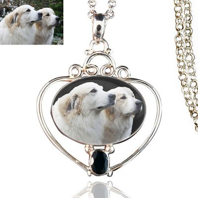 Full Heart Silver Memory Necklace, Black Onyx