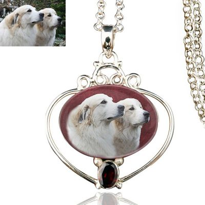 Full Heart Sterling Silver Memory Necklace, Garnet