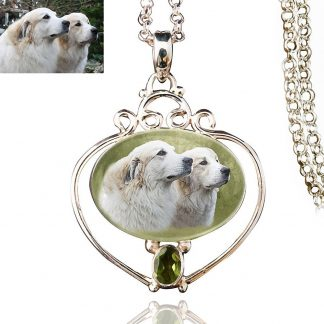 Full Heart Sterling Silver Memory Necklace, Peridot