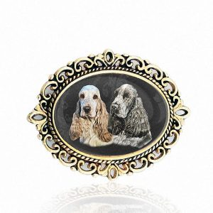 Gold Oval Photo Brooch