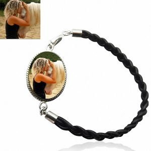 Sterling Silver and Braided Leather Photo Bracelet