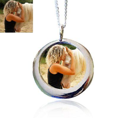Sterling Silver Medallion Photo Keepsake Necklace