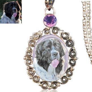 Gemstone Scrollwork Sterling Silver Memory Necklace, Amethyst