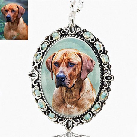 Photo Keepsake Beaded Oval Pendant with Sterling Silver Necklace