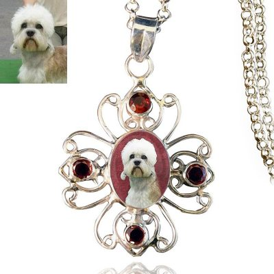 Sterling Silver Photo Keepsake Necklace, Star with Garnets