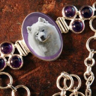 Sterling Silver Memory Bracelet, with Amethyst Gemstones #16