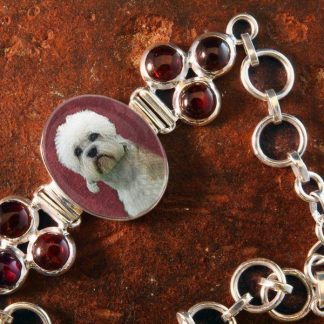 Sterling Silver Memory Bracelet, with Garnet Gemstones