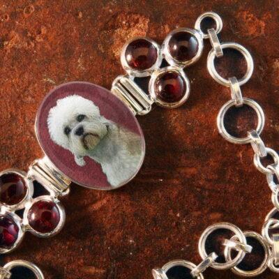 Sterling Silver Memory Bracelet, with Garnet Gemstones