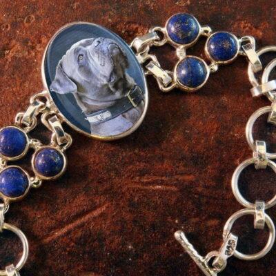 Sterling Silver Memory Bracelet, with Blue Lapiz gemstones #38