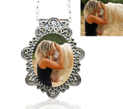 victorian sterling photo necklace