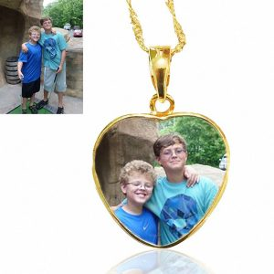 Gold Heart Photo Keepsake Necklace