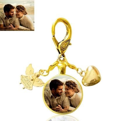 Gold Guardian Angel Bag Charm with Heart