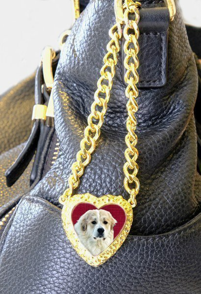 gold heart on chain bag charm