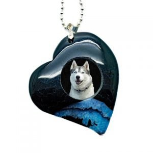 Polished Stone Heart Photo Keepsake Necklace