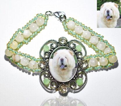 Photo Keepsake Victorian Stone Bracelet, Sage