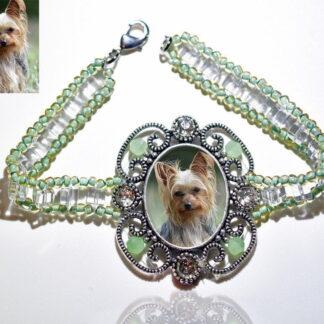Photo Keepsake Victorian Glass Bracelet, Sage