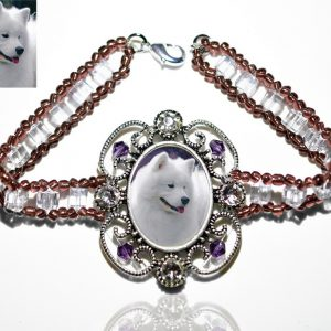 Photo Keepsake Victorian Glass Bracelet, Amethyst
