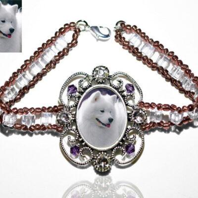 Photo Keepsake Victorian Glass Bracelet, Amethyst