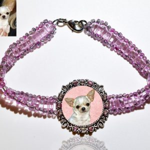 Photo Keepsake Pink Glass Bracelet