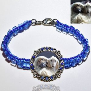 Photo Keepsake Light Blue Glass Bracelet