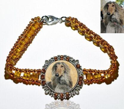 Photo Keepsake Amber Glass Bracelet