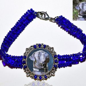 Photo Keepsake Royal Blue Glass Bracelet