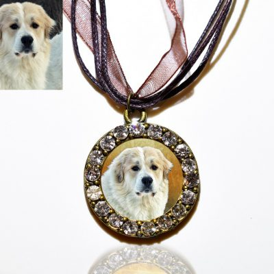 Bronze Photo Keepsake Necklace with Swarovski