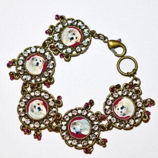 Photo Keepsake Bronze Dangle Bracelet, Cranberry
