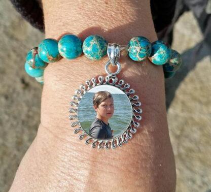Sterling Silver Stone Bead Photo Keepsake Bracelet