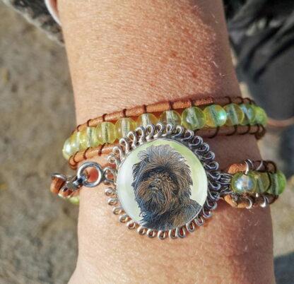 Sterling Silver Beaded Wrap Photo Keepsake Bracelet