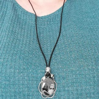 Sterling Silver Photo Keepsake Necklace with Long Adjustable Leather Cord