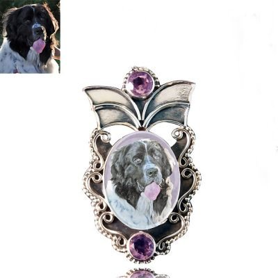 Angel Wings Sterling Silver Photo Keepsake Brooch, Amethyst