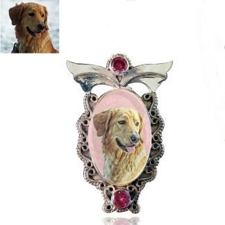 Angel Wings Sterling Silver Photo Keepsake Brooch, Pink Kunzite