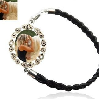 Sterling Silver Scrolls and Braided Leather Photo Bracelet