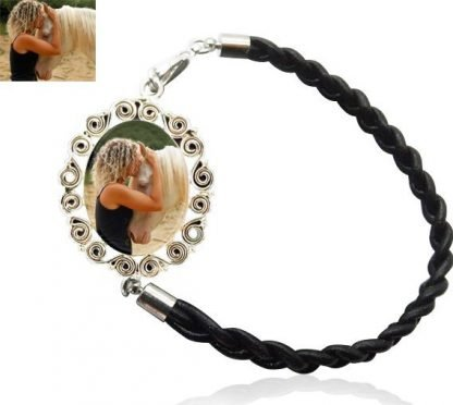 SterlingSilver Scrolls and Braided Leather Photo Bracelet